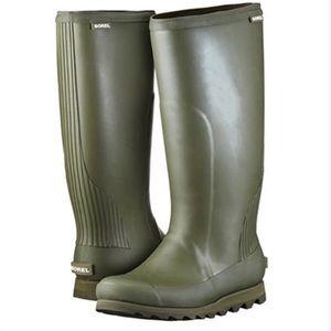 Sorel Tall Green Rain Boots size 6